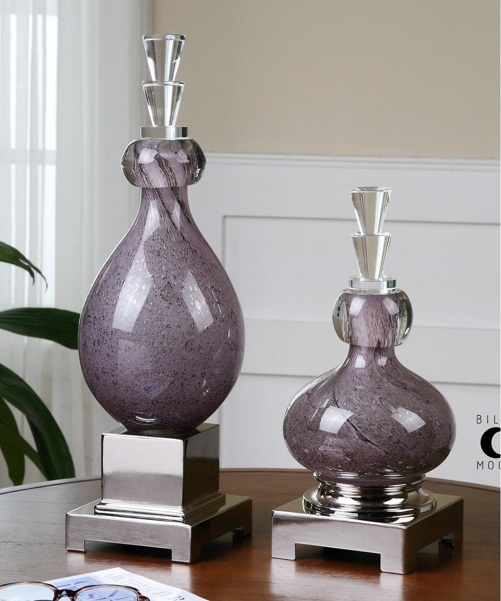 "19""H Charoite Purple Glass Bottles Set of 2"