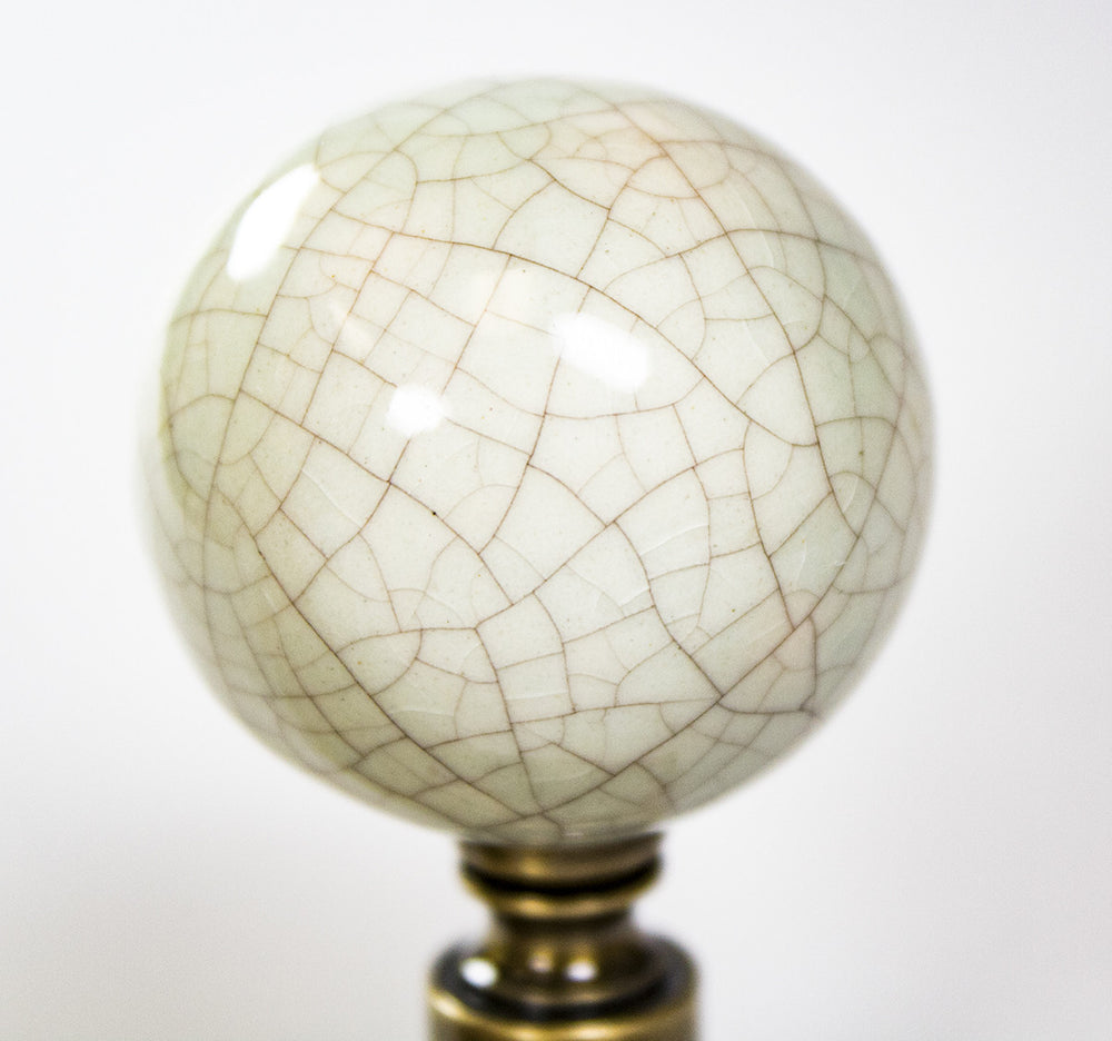 "Antique Celadon Ceramic Ball Finial 2.25""h"