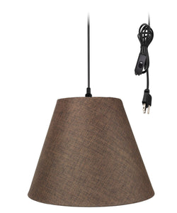 0-010251>1-Light Plug In Swag Pendant Ceiling Light Chocolate Burlap Shade