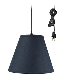 Textured Slate Blue 1 Light Swag Plug-In Pendant Hanging Lamp