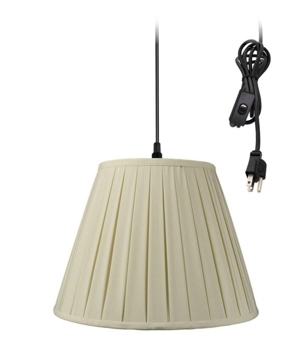 "16""W 1-Light Plug In Swag Pendant Lamp Eggshell Shade"