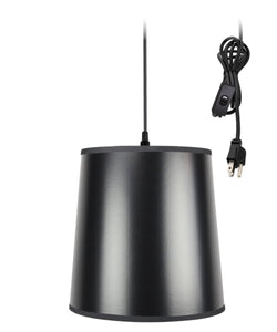 Home Concept 1-Light Plug In Swag Pendant Lamp Black/Gold Shade