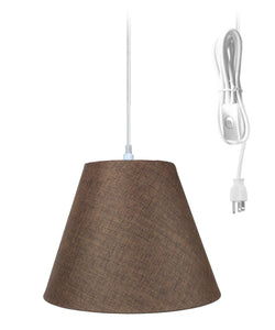 HomeConcept 1-Light Plug In Swag Pendant Ceiling Light Chocolate Burlap Shade 7x14x11