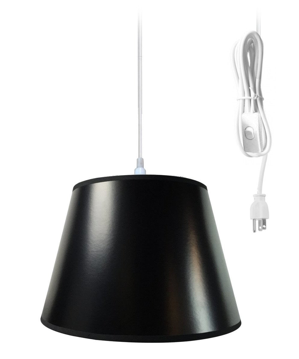 "13""W Hanging Swag Pendant Plug-In One Light Black/Gold Shade"