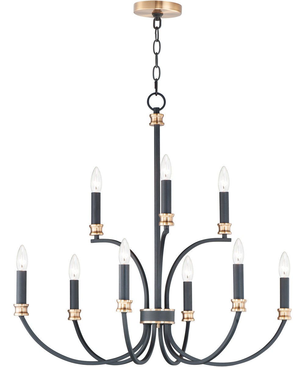 "30""W Charlton 9-Light Chandelier Black / Antique Brass"