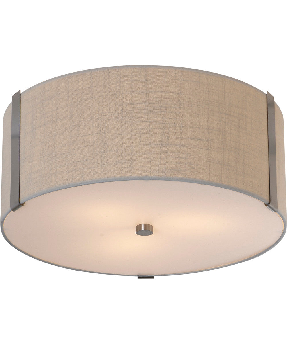 "20""W Butler 3-Light Flushmount in Brushed Nickel with Coarse Cream Finish TP7568 by Trend Lighting"