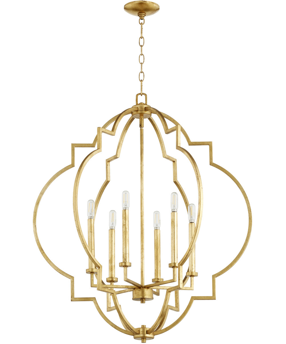 "30""W Dublin 6-light Pendant Gold Leaf"