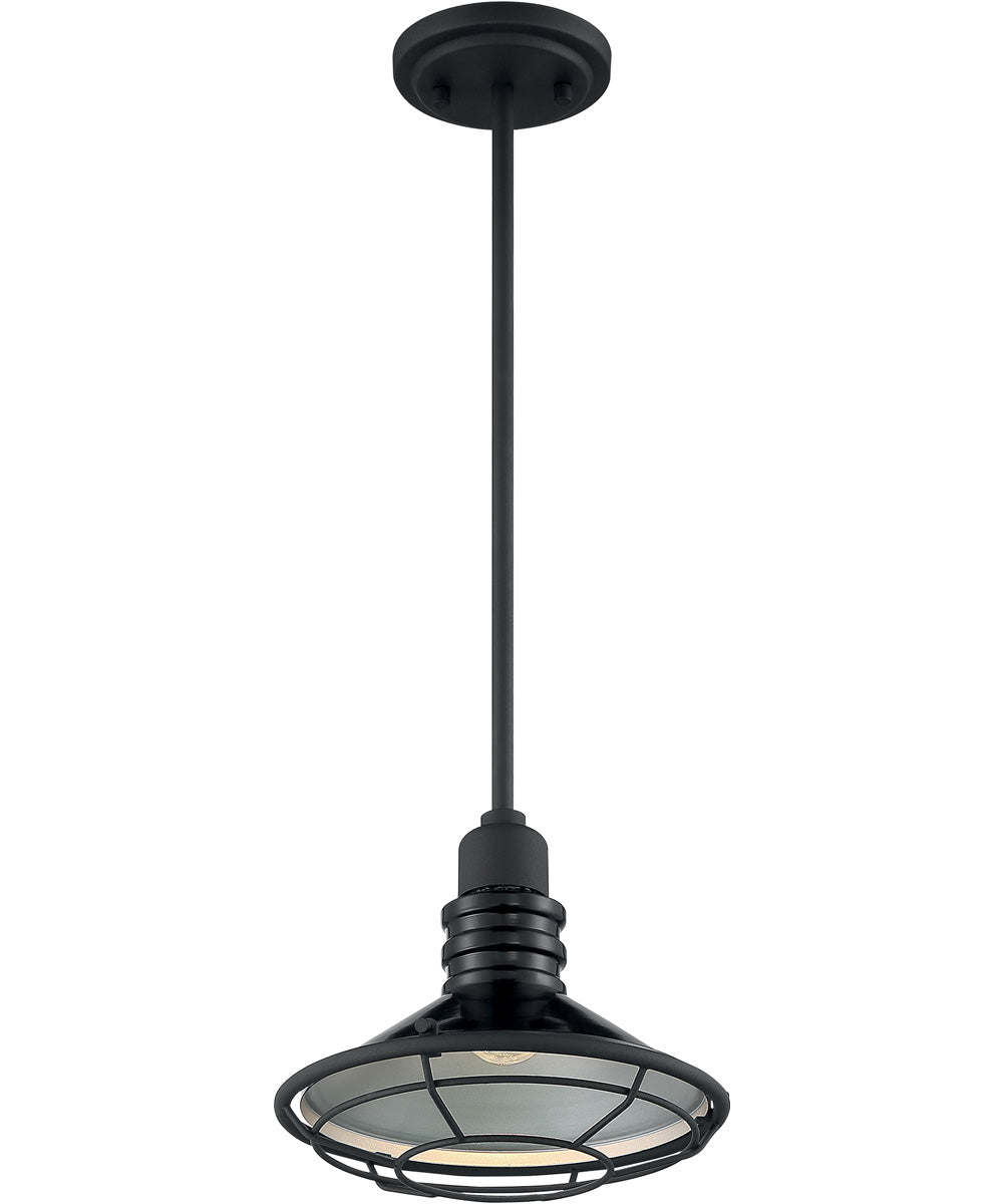 "10""W Blue Harbor 1-Light Pendant Gloss Black / Silver"