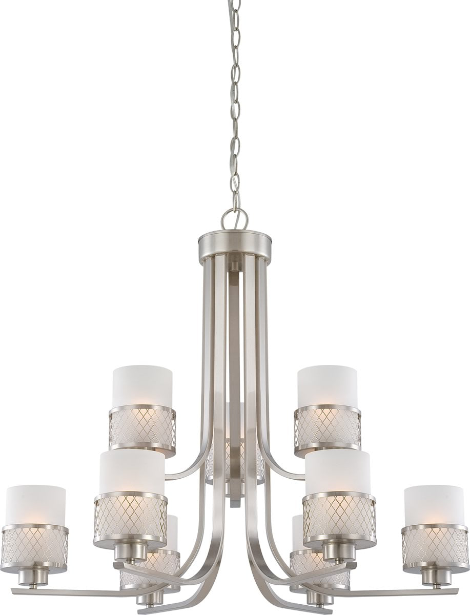 "31""W Fusion 9-Light Chandelier Brushed Nickel"
