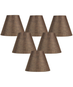 "6""W x 5""H Set of 6 Chocolate Burlap Chandelier Lampshade"
