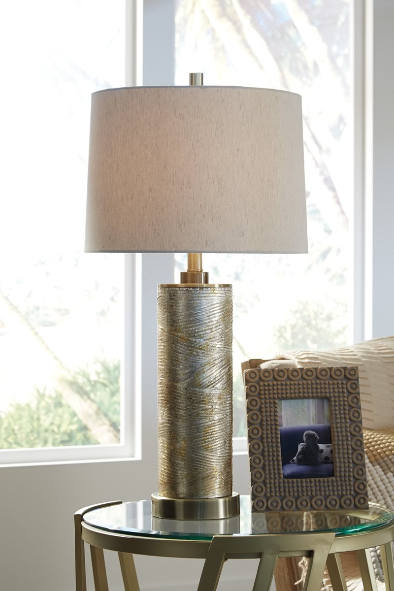 "30""H Farrar Glass Table Lamp (1/CN) Gold"