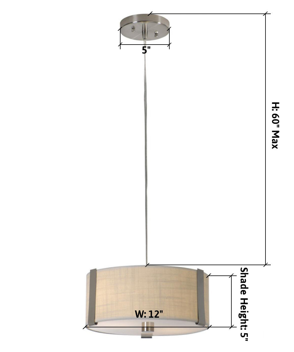 "12""W Butler 2-Light Small Drum Pendant in Brushed Nickel with Coarse Cream Finish TP7565 by Trend Lighting"