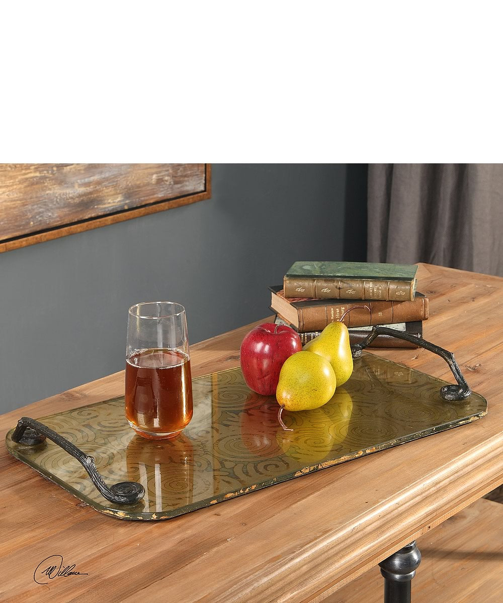 "21""H Scarlett Painted Glass Tray"