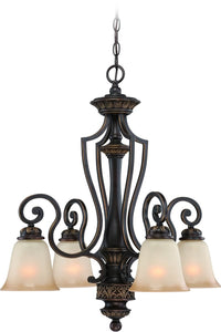 0-015393>Josephine 4-Light Down Chandelier Antique Bronze/Gold Accents