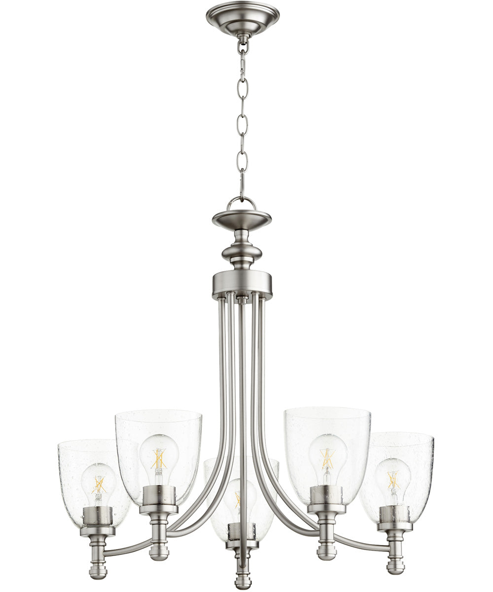 "25""W Rossington 5-light Chandelier Satin Nickel w/ Clear/Seeded"