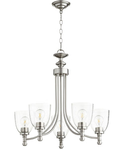 Rossington 5-light Chandelier Satin Nickel w/ Clear/Seeded