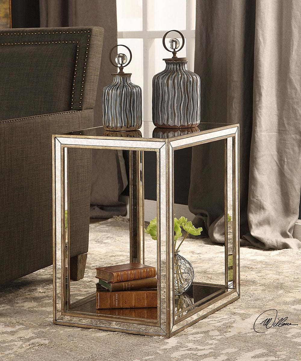 "24""H Julie Mirrored End Table"