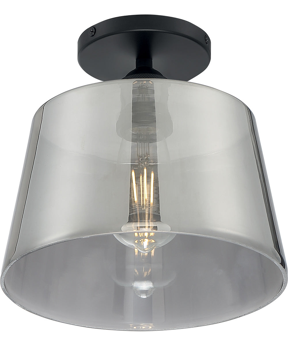 "10""W Motif 1-Light Close-to-Ceiling Black / Smoked Glass"
