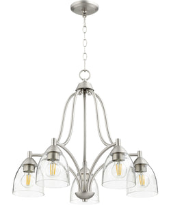 Barkley 5-light Nook Chandelier Satin Nickel w/ Clear/Seeded