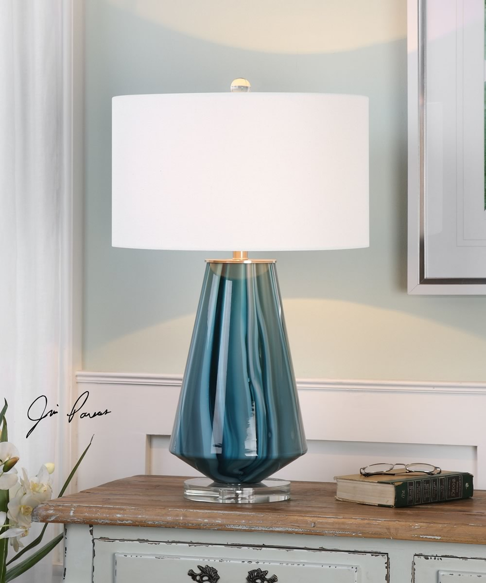 "28""H Pescara Teal-Gray Glass Lamp"