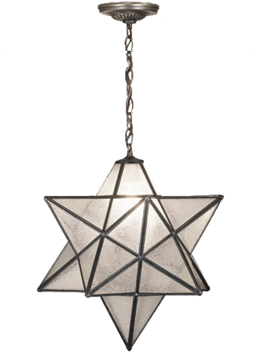 "18""W Moravian Star Clear Seeded Pendant"