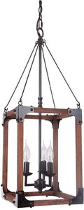 0-009072>Mason 3-Light Pendant Light w/Chain Fired Steel/Natural Wood