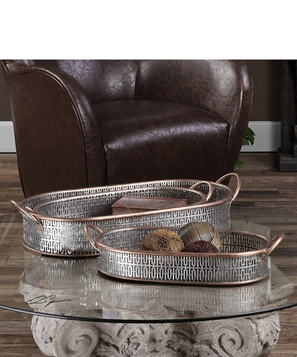 "5""H Fabiana Antiqued Silver Trays Set of 3"