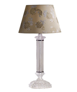 "23""H Battersby Table Lamp Satin Nickel by Laura Ashley with Carla Floral Raw Silk Barrel Shade"