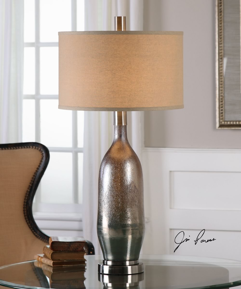 "33""H Basola Olive Gray Glass Table Lamp"