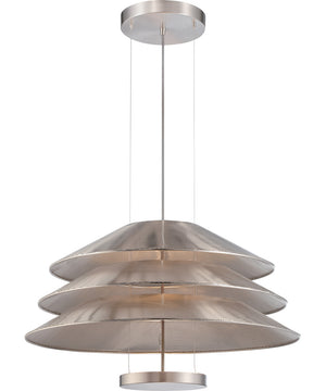 "28""W Evol 1-Light Pendant Satin Steel"