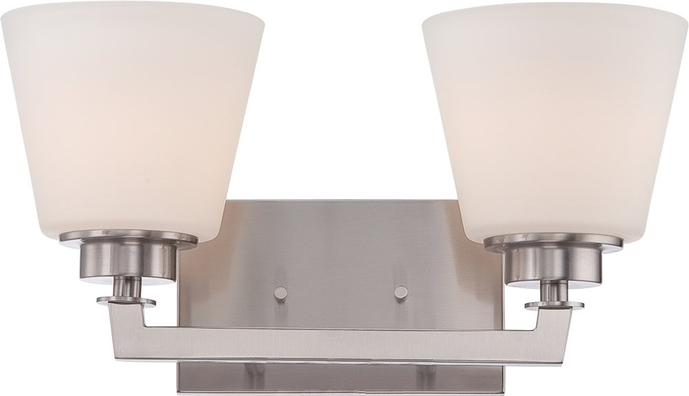 "15""W Mobili 2-Light Vanity & Wall Brushed Nickel"