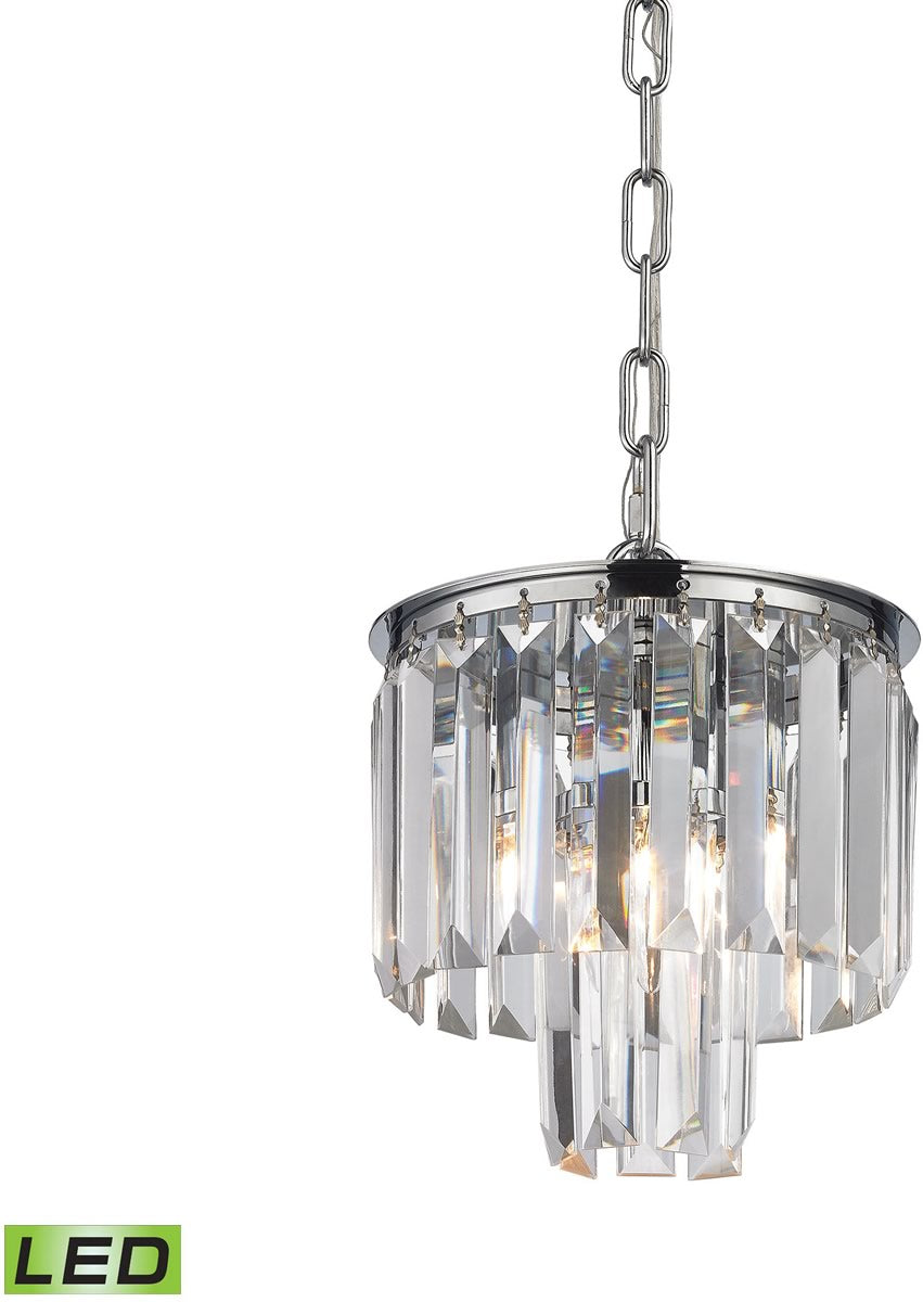 "8""W Palacial 1-Light LED Pendant Polished Chrome"