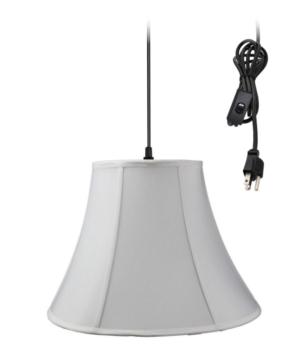"18""W 1-Light Plug In Swag Pendant Lamp White Shade"