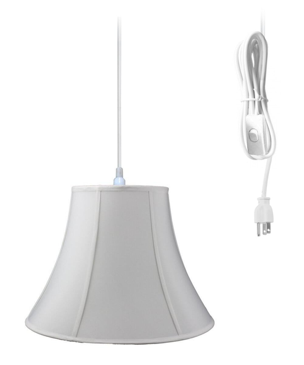 "20""W 1-Light Plug In Swag Pendant Lamp White Shade"