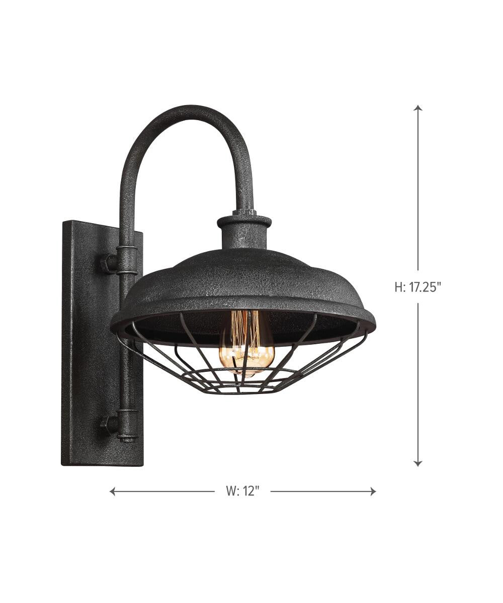 "17""H Lennex 1-Light Indoor/Outdoor Wall Lantern Slate Grey Metal"
