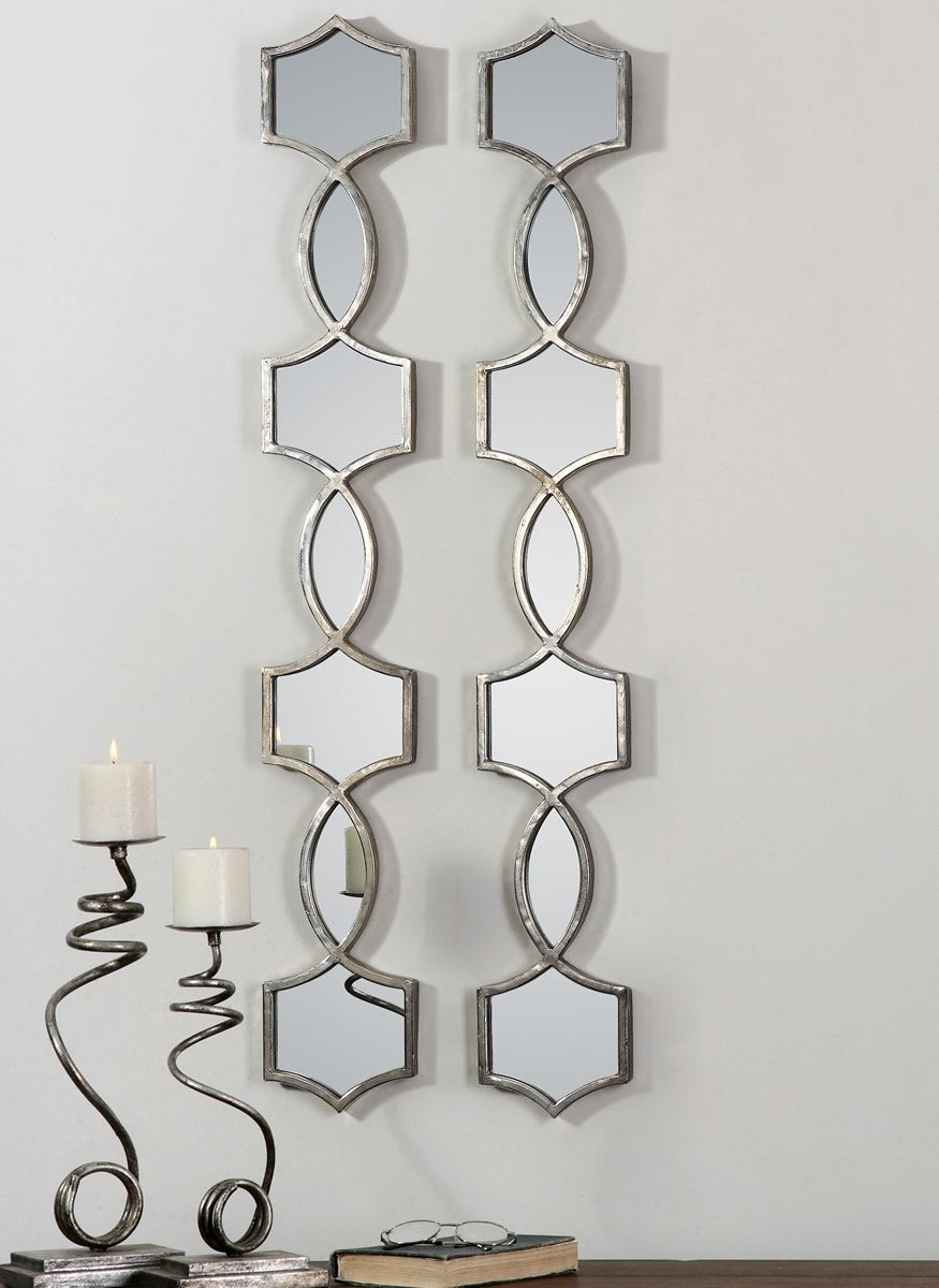 "45""H x 6""W Vizela Metal Mirrors Set of 2"