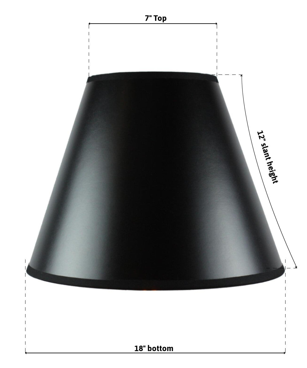 "14""W x 11""H SLIP UNO FITTER Bold Black with True Gold Lining Hard Back Empire Lampshade"