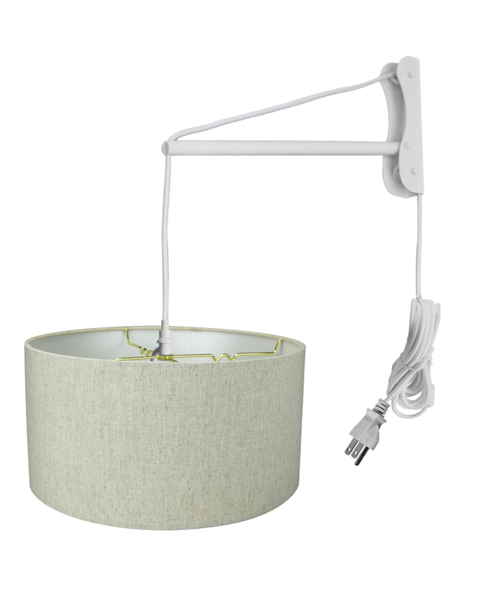 "18""W MAST Plug-In Wall Mount Pendant 2 Light White Cord/Arm with Diffuser Textured Oatmeal Shade"