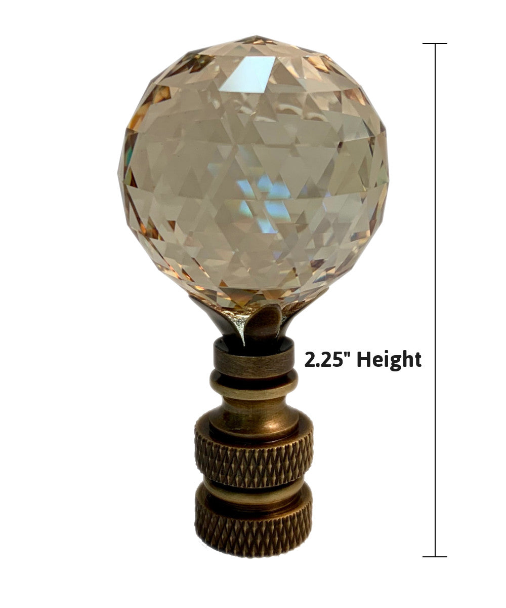 "Swarovski Faceted Champagne Crystal Ball Finial Antique Brass 2.25""h"