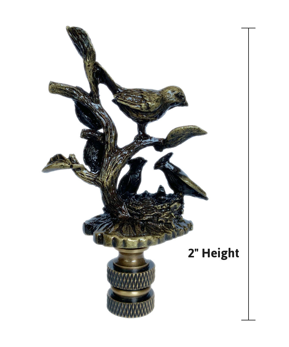 "2""H Birds on Nest Finial Antique Metal"