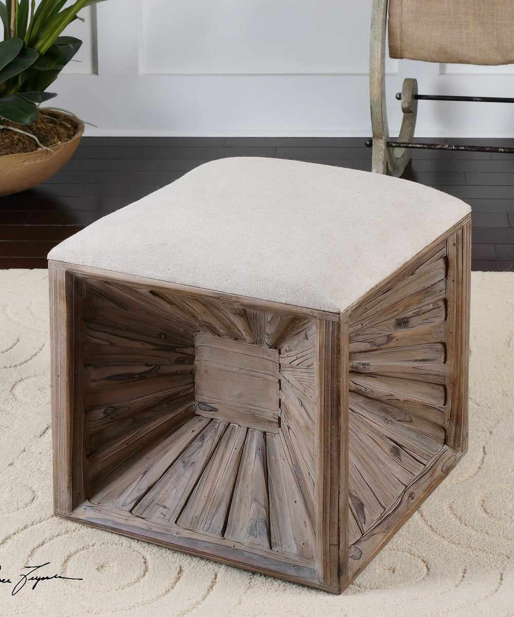 "19""H Jia Wooden Ottoman"