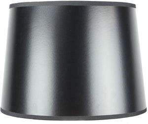 "14""W x 10""H SLIP UNO FITTER Black Parchment Gold-Lined Drum Lampshade"