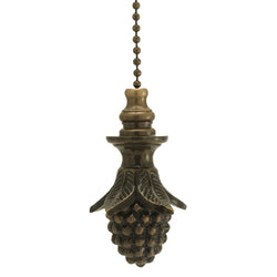 Antique Brass Pinecone Fan Pull