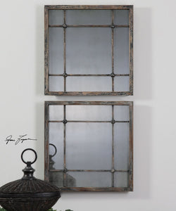 "19""H Saragano Square Mirrors Set of 2"