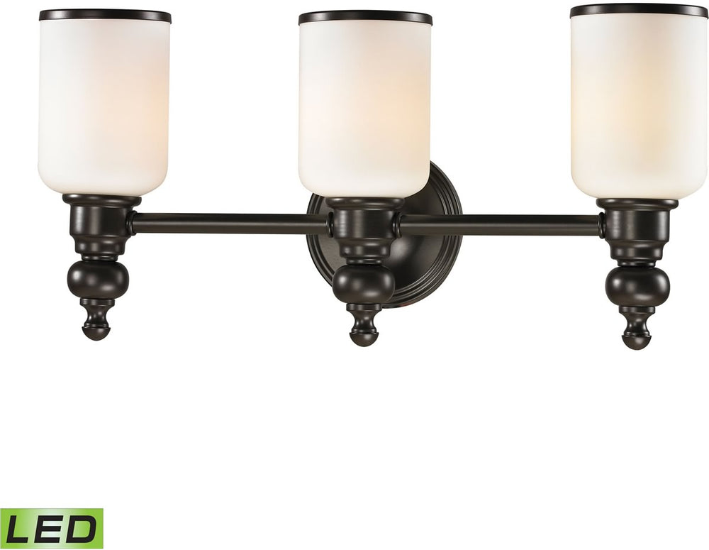 "21""W Bristol Way 3-Light LED Vanity Oil Rubbed Bronze/Opal White Glass"
