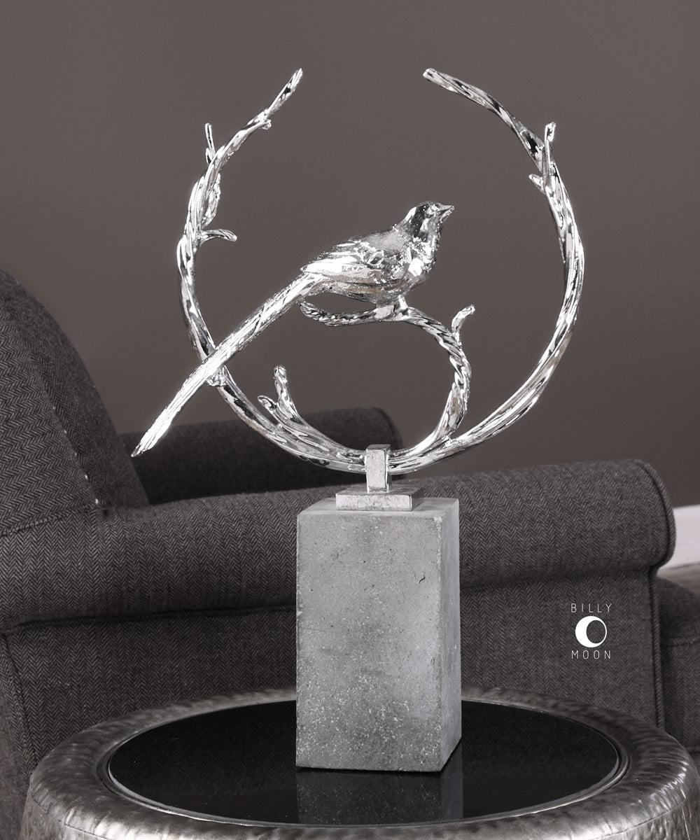 "20""H Rosana Silver Bird Sculpture"