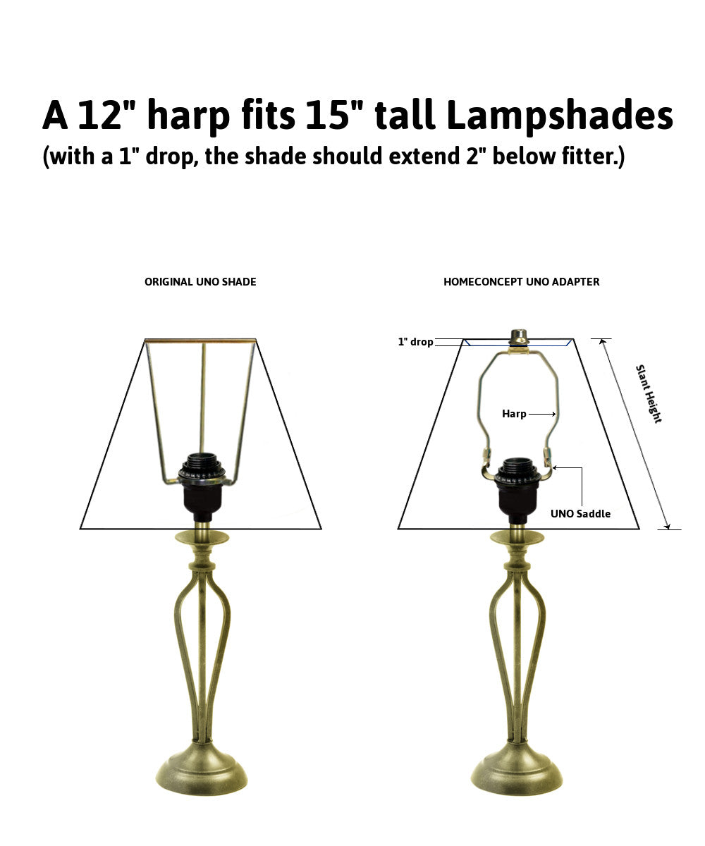 "12""H SLIP UNO Adapter Converts your Lampshade to fit on SLIP UNO Lamp Base"
