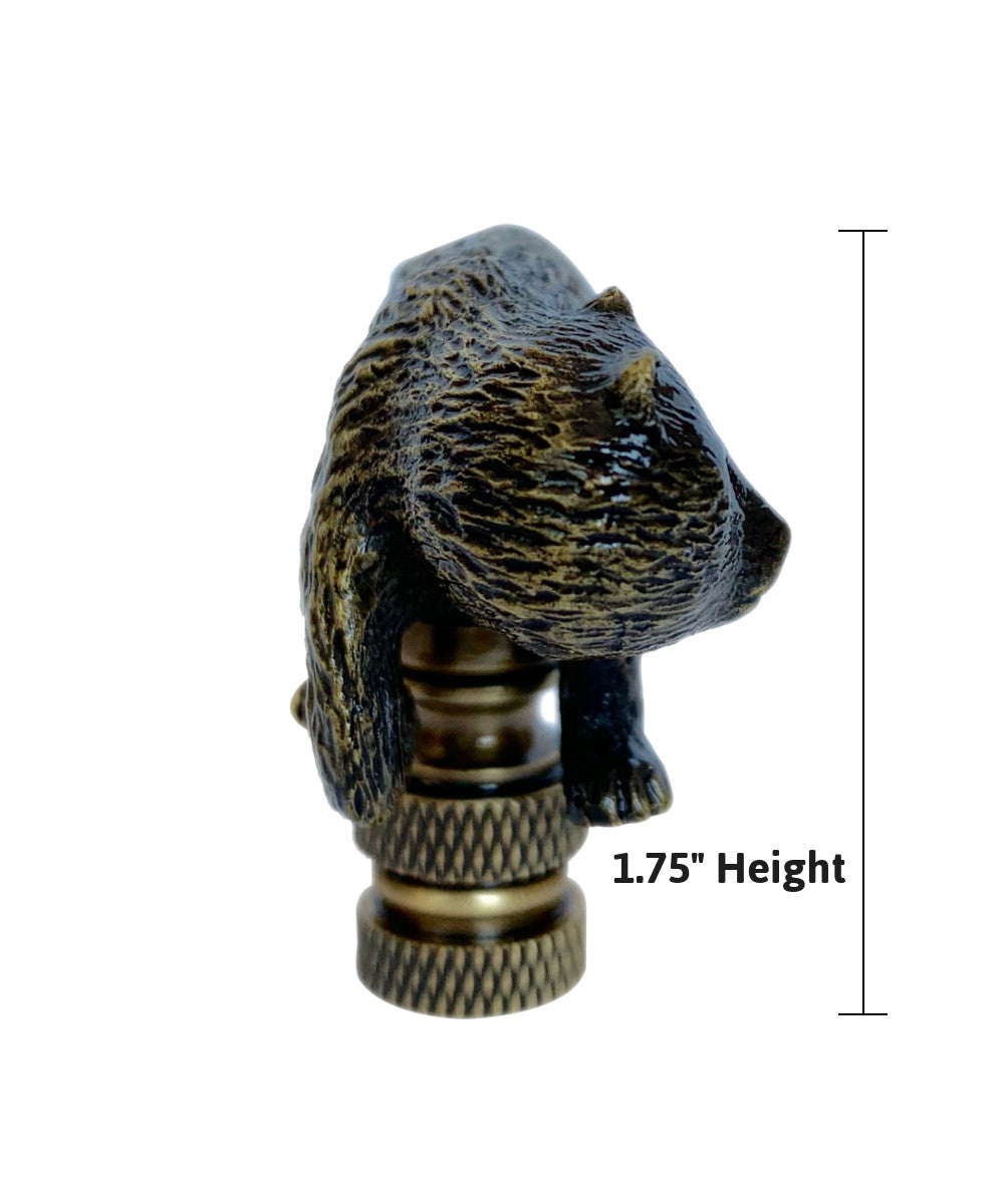 "1""H Walking Bear Finial Antique Metal"