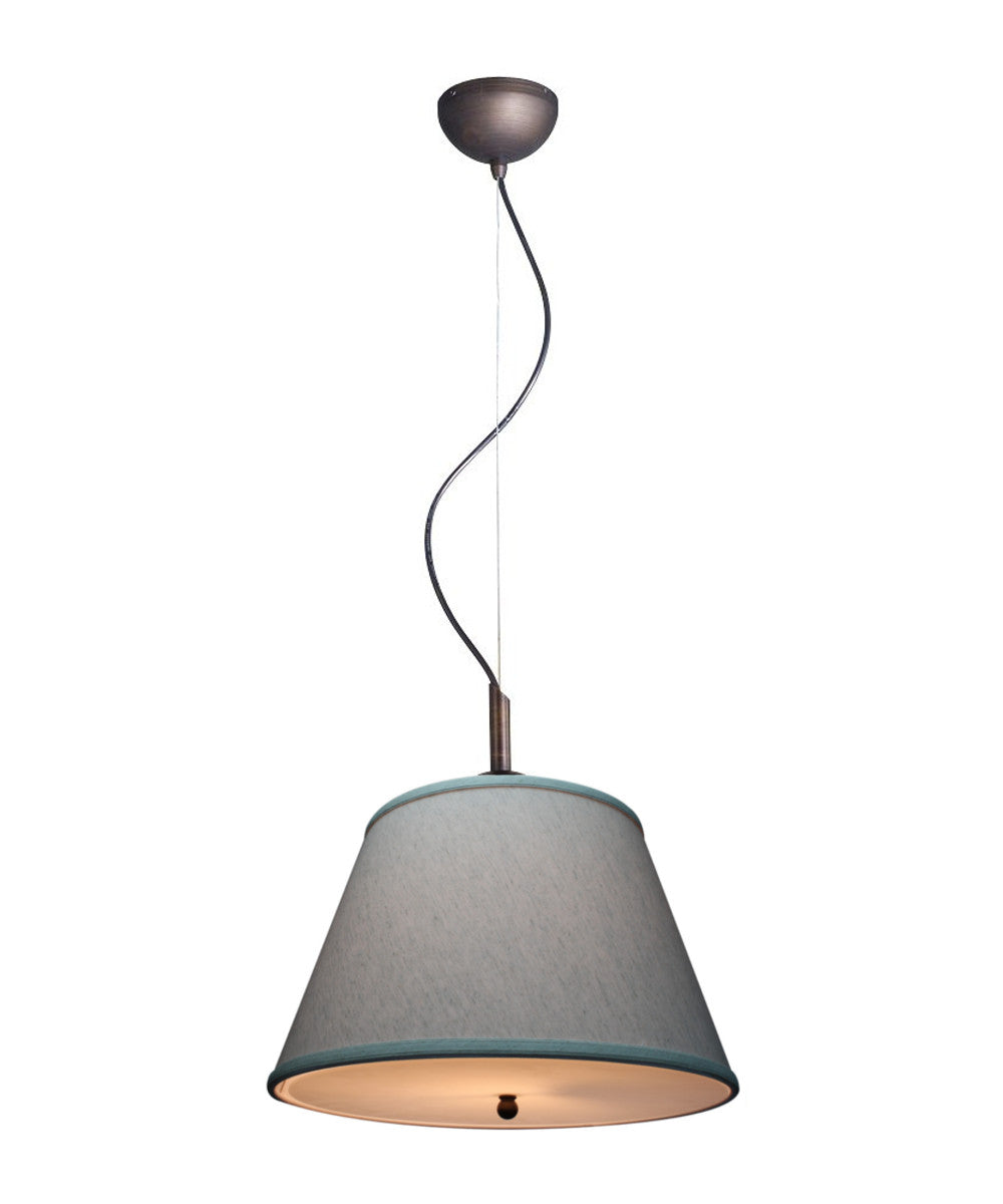 "16""W Gold-laced Cafe Pendant Light with Textured Oatmeal Slotted Pendant Empire Shade and Diffuser"
