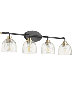 Espy 4-light Bath Vanity Light Noir w/ Aged Brass